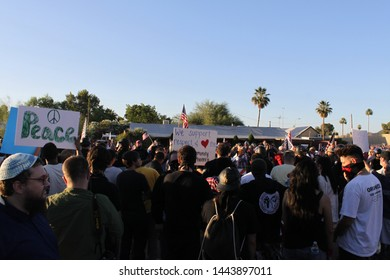"""Phoenix, Ariz. / US - May 29, 2015: Islamic Community Center community members and supporters gather at the mosque to counter protest armed protestors holding a """"Muhammad Cartoon Contest."""" 4993"""