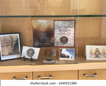 Phoenix, Ariz. / USA - April 27, 2017: Informational at the Maricopa Office of the Medical Examiner commemorates the Granite Mountain Hotshots, lost in the Yarnell Hill Fire. 4897