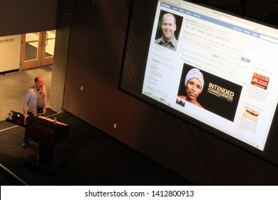 Phoenix, Ariz. / USA - January 31, 2011: Media Storm Founder Brian Storm speaks to students, faculty and staff in the First Amendment Forum at ASU's Walter Cronkite School of Journalism.