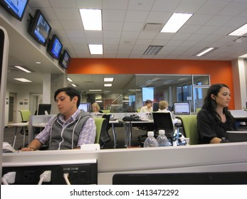 Phoenix, Ariz. / USA - March 3, 2011: Reporters in the Cronkite Newsroom at Arizona State University. 1622