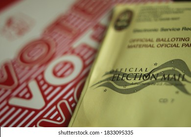 Phoenix, Ariz. / USA - October 13, 2020: A 2020 election ballot and related paperwork sent by official election mail. 1334