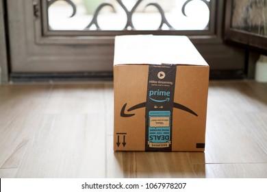Phoenix, Arizona - April 12, 2018: Amazon Prime Box by Front Door