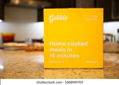 Phoenix, Arizona - April 12, 2018: Gobble Home Delivery Meal Kit on Table
