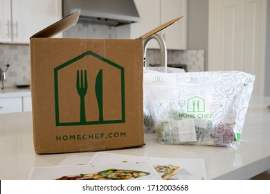 Phoenix, Arizona, April 23, 2020: Home  Chef Meal Delivery Kit on a Kitchen Counter