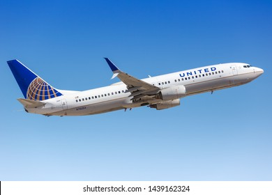 Phoenix, Arizona – April 8, 2019: United Airlines Boeing 737-800 airplane at Phoenix Sky Harbor airport (PHX) in the United States.
