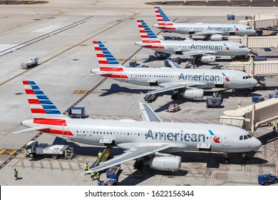 Phoenix, Arizona – April 8, 2019: American Airlines Airbus A320 airplanes at Phoenix Sky Harbor airport (PHX) in Arizona. Airbus is a European aircraft manufacturer based in Toulouse, France.