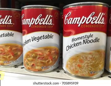 PHOENIX, ARIZONA, AUGUST 26, 2017: Campbell's Soup on Store Shelf