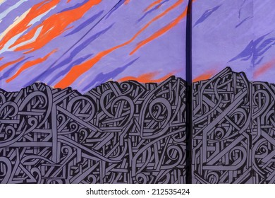 PHOENIX, ARIZONA - AUGUST 6: Colorful wall art graffit in the Roosevelt Row area form abstract background pattern on August 6, 2014 in Phoenix, Arizona