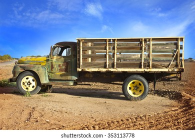 PHOENIX, ARIZONA - December 19, 2015: Old Farm Truck in plowed field near Phoenix, Arizona.