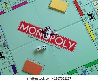Phoenix, Arizona, December 25, 2018: Closeup of Monopoly Board Game