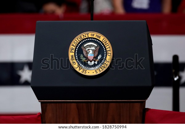 """PHOENIX, ARIZONA - FEBRUARY 19, 2020: Donald J. Trump President of the United States speaks to a large crowd at the """"Keep America Great"""" event, a special event held as a rally at the Arizona."""