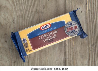 PHOENIX, ARIZONA, JULY 28, 2017: Bar of Kraft Extra Sharp Cheddar Cheese