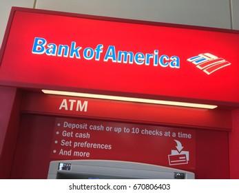 PHOENIX, ARIZONA, JULY 3, 2017: Bank of America ATM