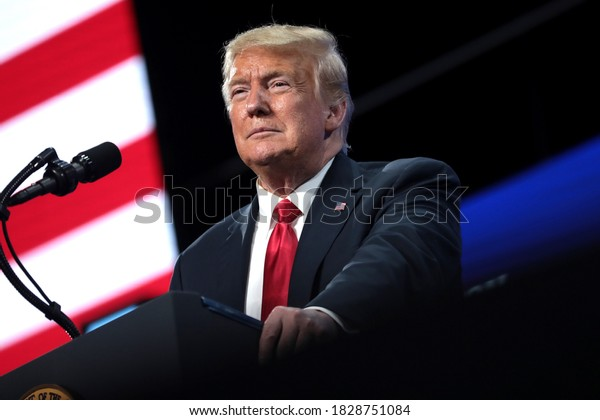 """PHOENIX, ARIZONA - JUNE 23, 2020: Donald J. Trump President of the United States speaks to a large crowd at """"An Address to Young America"""" an event hosted by Students for Trump and Turning Point Action"""