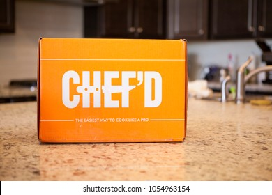 PHOENIX, ARIZONA, MARCH 22, 2018: Chef'd Meal Delivery Kit Box on Kitchen Counter