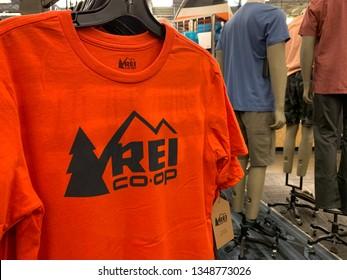 Phoenix,  Arizona, March 23, 2019: REI Co-op T-shirt on a hanger in the REI store