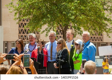 PHOENIX, ARIZONA – MAY 18, 2019: Brandy Vaughan, Del Bigtree,  Rep. Nancy Barto, Robert F Kennedy Jr., Rep. Kelly Townsend, James Lyons-Weiler PhD., Judy Mikovits PhD., and Dr. Alan Palmer, AZ rally.