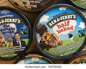 PHOENIX, ARIZONA, NOV 10, 2017: Ben & Jerrys Ice Cream Tops