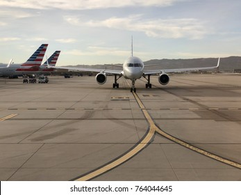 PHOENIX, ARIZONA  – NOV 20, 2017: A Boeing 737 of American Airlines taxies to the runway for departure at PHX International Airport