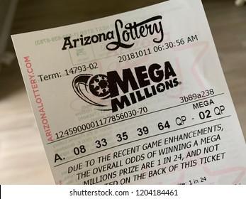 Phoenix, Arizona, October 11, 2018: Mega Millions Lottery Ticket