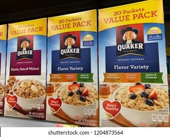 Phoenix, Arizona, October 14, 2018: Row of Quaker Oats Boxes