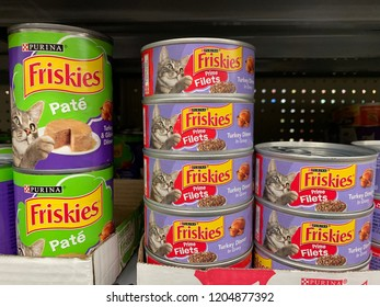 Phoenix, Arizona, October 14, 2018: Stacked Cans of Friskies Cat Food