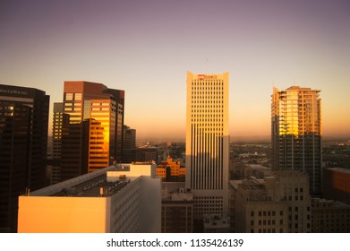 Phoenix, ARIZONA - October 21 2017: Skyscrapers in central Phoenix in warm sunrise light. View from the 22nd floor.