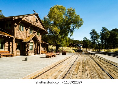 Phoenix, ARIZONA - October 22 2017: View of train in Gran Canyon National Park railway station on a sunny day. Empty railway station