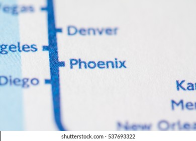 Phoenix, Arizona on a geographical map.