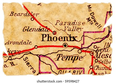 Phoenix, Arizona on an old torn map from 1949, isolated. Part of the old map series.