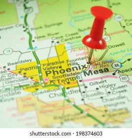 Phoenix, Arizona on US map