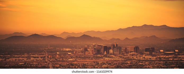 Phoenix Arizona Panoramic Photo. Sunset in the City. United States of America.