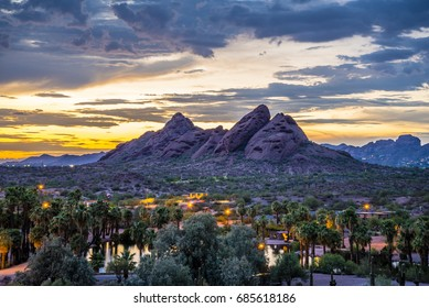 Phoenix, Arizona: The red sandstone buttes of Papago Park after sunset.