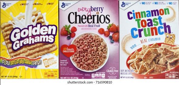 PHOENIX, ARIZONA, SEPT 15, 2017: General Mills Cereal Boxes