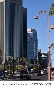 Phoenix Arizona skyline looking north on Central Avenue 2/24/18