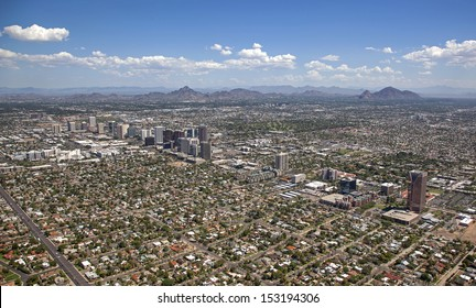 Phoenix, Arizona skyline looking to the northeast including Piestewa Peak and Camelback Mountain