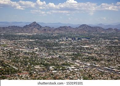 Phoenix, Arizona skyline looking to the northeast including Piestewa Peak