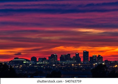 Phoenix, Arizona, United States, 20th December, 2016. Colorful sunset over the downtown Phoenix, Arizona city skyline on the eve of the winter solstice.