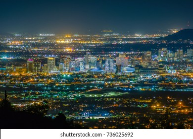 Phoenix, Arizona, United States - October 12, 2017: Downtown Phoenix at night.