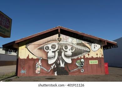 Phoenix, Arizona, USA - April 02, 2016: mexican food restaurant building painted by SAKOIA.