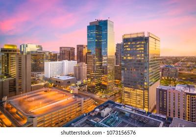 Phoenix, Arizona, USA cityscape in downtown at sunset.