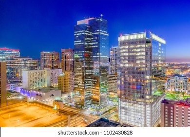 Phoenix, Arizona, USA cityscape in downtown at night.