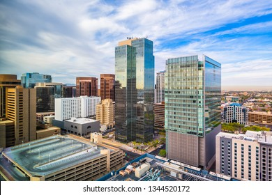 Phoenix, Arizona, USA cityscape in downtown in the afternoon.