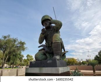 Phoenix, Arizona / USA - December 3 2019: Closeup of Statue of Navajo Code Talker of World War II