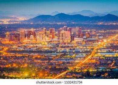 Phoenix, Arizona, USA downtown cityscape at dusk.
