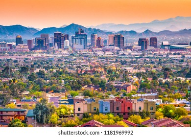 Phoenix, Arizona, USA downtown cityscape at dusk.