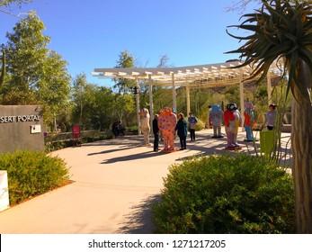 Phoenix, Arizona / USA - January 23, 2018: Visitors walk amidst the colorful and whimsical ceramic Tunaki racoon dog sculptures of the artist Jun Kaneko at the Desert Botanical Garden