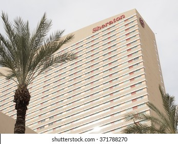 Phoenix, Arizona, USA - January 23, 2016: tropical view of Sheraton hotel in Phoenix downtown. Sheraton is part of Starwood Hotels group; one of the largest worldwide.