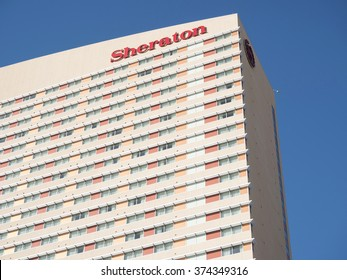 Phoenix, Arizona, USA - January 28, 2016: Sheraton hotel building in Phoenix downtown. Sheraton is part of Starwood Hotels group; one of the largest worldwide.
