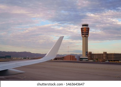 PHOENIX, ARIZONA, USA - JULY 23, 2019: Phoenix Sky Harbor International Airport with Air Traffic Control Tower.